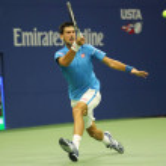 Постер, плакат: Twelve times Grand Slam champion Novak Djokovic of Serbia in action during his quarterfinal match at US Open 2016