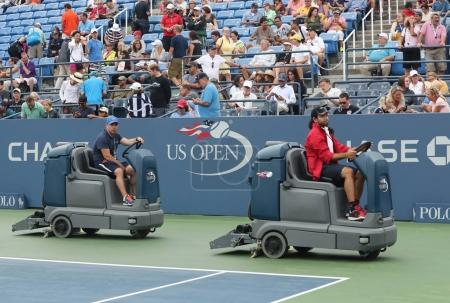 US Open cleaning crew drying