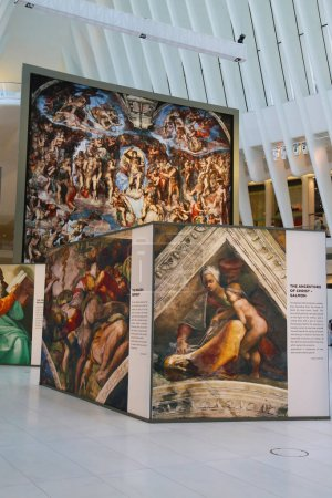 Michelangelo's Sistine Chapel Up Close exhibition by Westfield taking place at the World Trade Center Oculus in New York