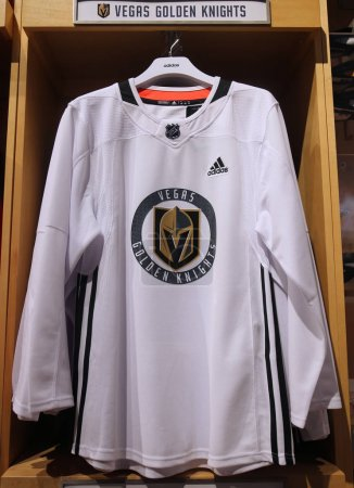The Vegas Golden Knights jersey on display at NHL store