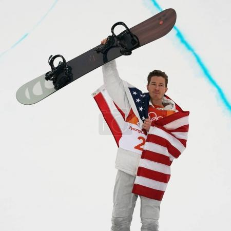 PYEONGCHANG, SOUTH KOREA  FEBRUARY 14, 2018: Olympic champion Shaun White celebrates victory in the men's snowboard halfpipe final at the 2018 Winter Olympics in PyeongChang, South Korea