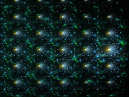 Photo pour Une surface en relief avec des éléments bleus, jaunes et verts sur fond sombre. - image libre de droit