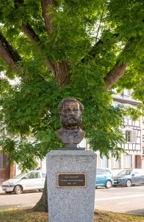 Strasbourg, France- July 5, 2019: A bust of Henry Dunant to the 100th anniversary of his death from the French Red Cross. Co-founder of International Committee of the Red Cross.