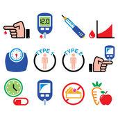 Diabetes disease health medical icons set