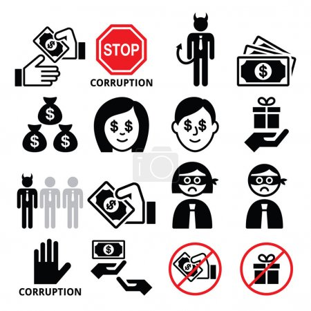 Illustration for Stop corruption, dodgy businesses vector icons set isolated on white - Royalty Free Image