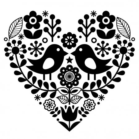 Folk art pattern with birds and flowers - Finnish inspired, Valentine's Day