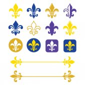 Fleur de lis - French symbol gold and navy blue design Scouting organizations French heralry