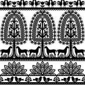 Vector monochrome design of horse tree and chickens - folk design from the region of Kurpie in Poland