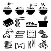 Pasta noodles spaghetti - Italian food icons set