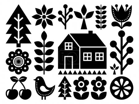 Scandinavian, Nordic folk art pattern - inspired by Finnish art, black and white