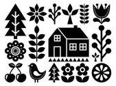 Scandinavian Nordic folk art pattern - inspired by Finnish art black and white