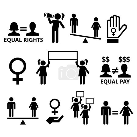 Women fighting for equal rights in society, women ...