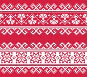 Ukrainian or Belarusian folk art embroidery pattern in red an white