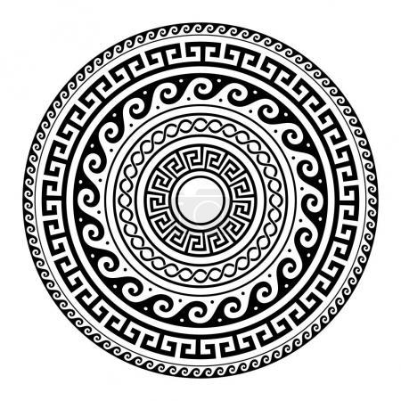 Patrón de llave redonda griega antigua - arte de meandro, forma de mandala negro