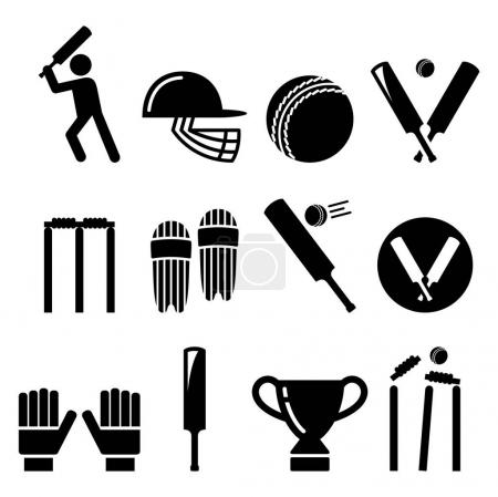 Cricket bat, man playing cricket, equipment - sport icons set