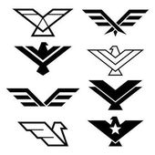Eagle geometric design eagle's wings vector icons set eagles graphic elements - modern style