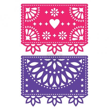 Papel Picado vector template design set, Mexican paper decorations flowers and geometric shapes, two party banners