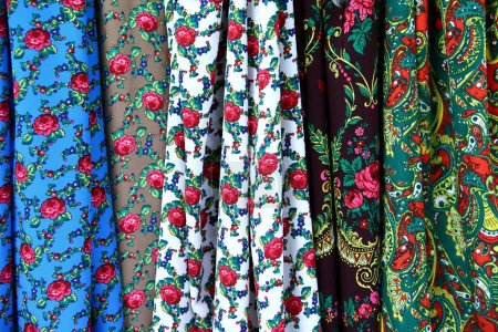 Photo for Colorful fabric is used to design out all kinds of clothes for women and men, it can be canvas or cotton, and even silk all suitable for clothes. - Royalty Free Image