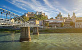 Famous city of Salzburg with historic fortress and Salzach, Austria