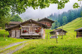 Traditional mountain chalets in the Alps