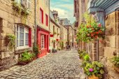 Beautiful alley scene in an old town in Europe