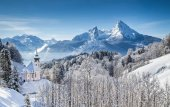 Panoramic view of beautiful winter landscape in the Bavarian Alps