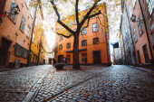 Street scene in Stockholm's historic Gamla Stan district, Sweden