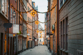 Stockholm's Gamla Stan old town district at night, Sweden