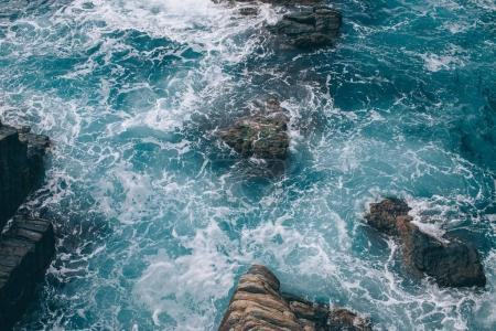 Photo for Beautiful natural landscape with cliffs and sea in Riomaggiore, Italy - Royalty Free Image