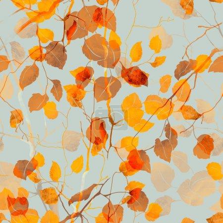 Photo pour Branches d'automne avec des empreintes de feuilles, motif sans couture peint à la main, dessin numérique et texture aquarelle - image libre de droit