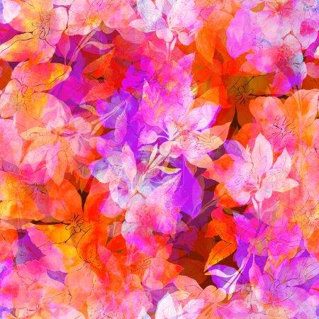Photo pour Fleurs de prairie et les empreintes d'herbes, motif sans couture peint à la main, texture aquarelle - image libre de droit