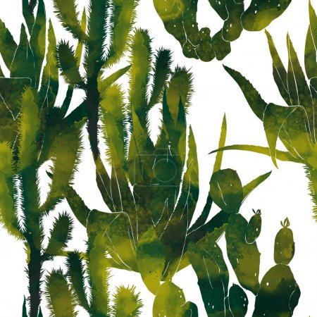 green watercolor cactuses