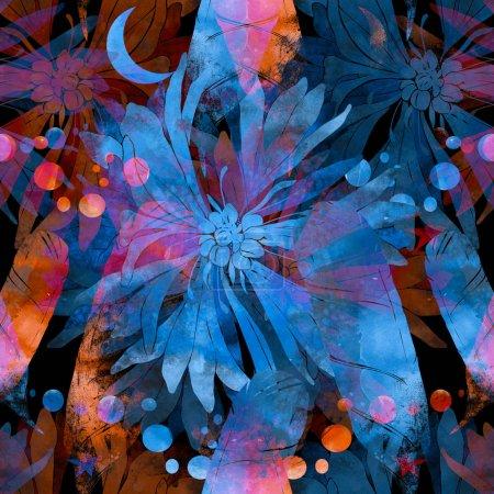 Photo pour Modèle sans couture peinte à la main. dessin numérique et texture aquarelle. fond pour textile déco et design. fond d'écran. Châssis mixte - image libre de droit