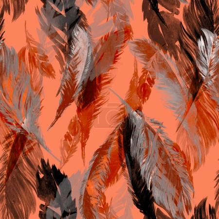 Photo for Seamless feather pattern. Boho-chic, print for paper and textiles, naive watercolor. - Royalty Free Image