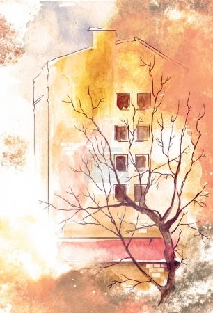 Spring, sky, tree, house