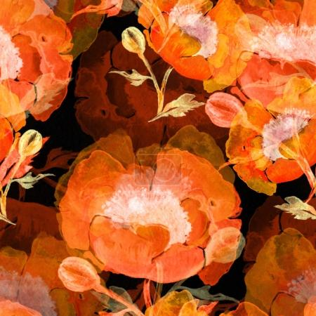 watercolor poppies seamless pattern