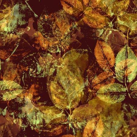 Photo pour Motif sans couture avec des empreintes feuilles et de la peinture - image libre de droit