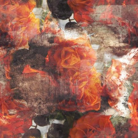 seamless pattern with vintage patina roses
