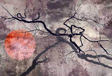 surrealistic trees with red sun