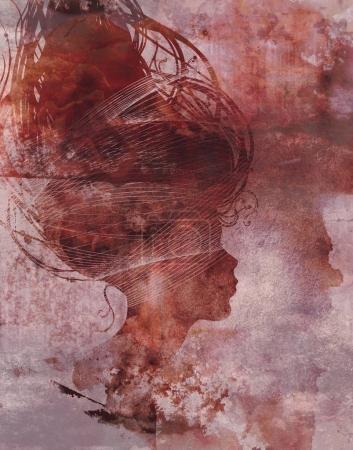 surreal profile of beautiful watercolor girl