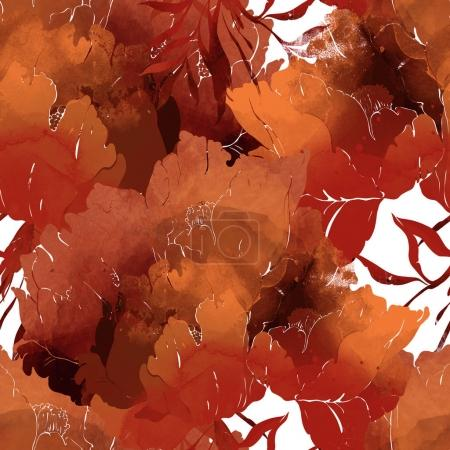 pattern of imprints bouquet of poppies