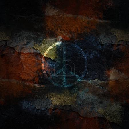 symbole de paix sur le mur de la ville