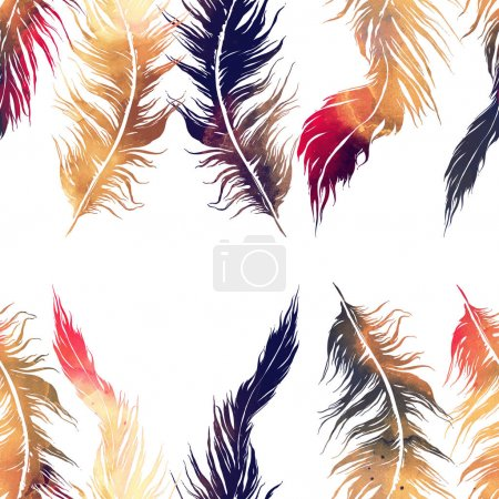 abstract watercolor and digital hand drawn seamless pattern with imprints of flying bird feathers
