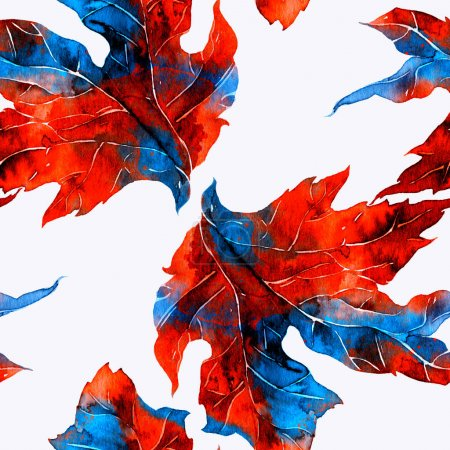watercolour and digital hand drawn seamless pattern with mix fantastic leaves
