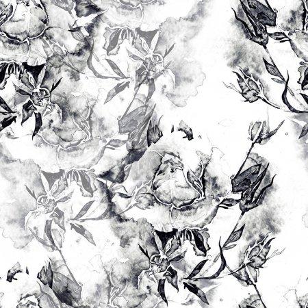 Photo pour Empreintes roses mélanger répétition motif sans couture. aquarelle et photo numérique dessinée à la main. œuvre d'art mixte - image libre de droit