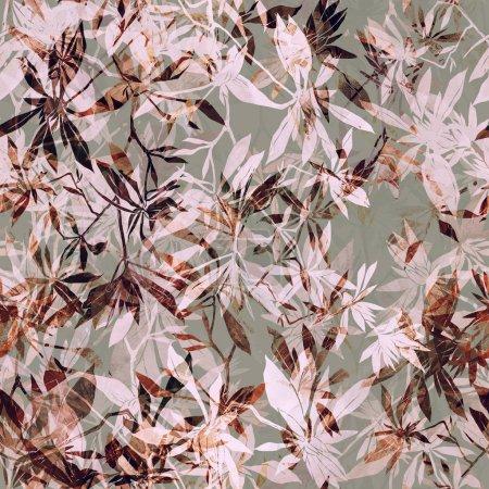 Photo pour Empreintes mélange abstrait d'herbes répètent motif sans couture. aquarelle et photo numérique dessinée à la main. œuvre d'art mixte. texture sans fin pour le décor et le design textile - image libre de droit