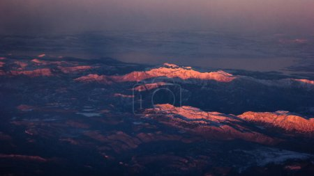 Photo for Beautiful Landscape of Mountains. View from the airplane window - Royalty Free Image