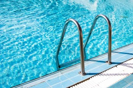 Photo for Clear transparent pool water and railings - Royalty Free Image