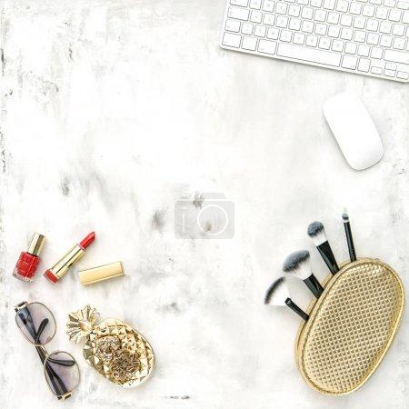 Fashion accessories cosmetics notebook Flat lay feminine