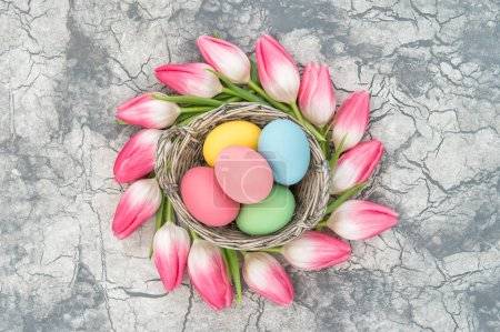 Tulip flowers Easter eggs floral decoration